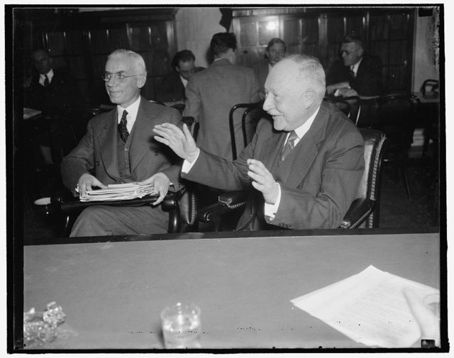 Pennsy VP before Senate Rail Inquiry. Washington, D.C., Dec. 21. After hearing Chairman Wheeler of the Senate Inquiry charge the Pennsylvania Railroad with violating ICC decisions and concealing facts from stockholders in purchasing railroad stocks from 1925 to 1928, [...]County Financial Vice President of the Road, testified the purchases were made to protect the interests of the stockholders. He added this was in line with a program then being considered to divide the Railroads of the East into four great systems. 12/21/37