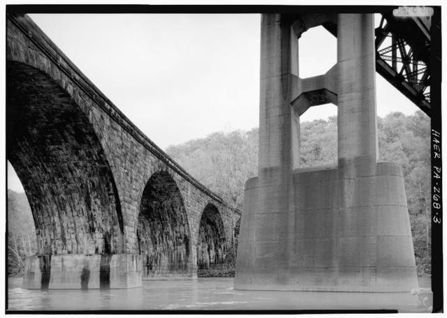 Pennsylvania Railroad, West Tunnel Viaduct, Spanning Conemaugh River, 25 miles South of Conemaugh Dam, Tunnelton, Indiana County, PA