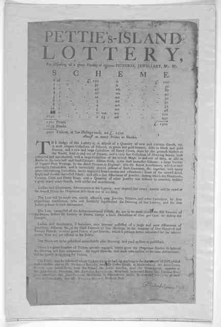 Pettie'-Island lottery, for disposing of a great variety of curious pictures, jewellery, &c. &c ... [Philadelphia? n. d.].