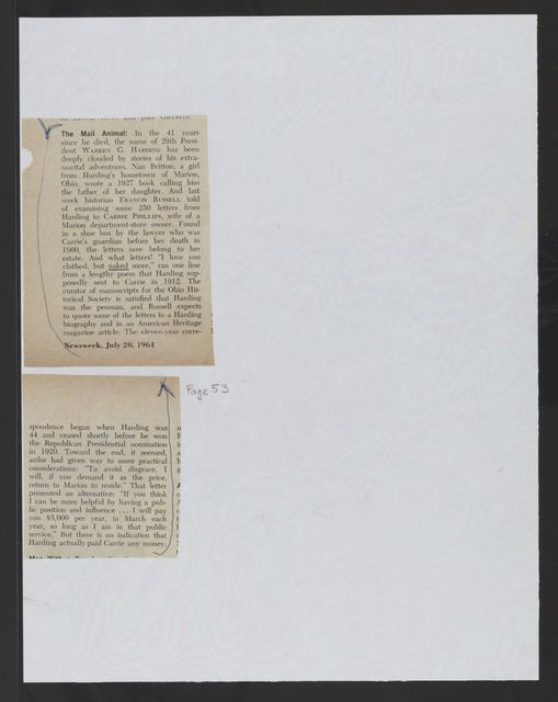 Phillips / Mathée Collection: News clippings, 1923, 1964-1972, undated