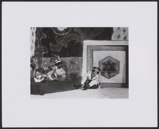 Photograph of Alexander Orlov and Vaslav Nijinsky in scene III of Petrouchka, n.d., no photographer