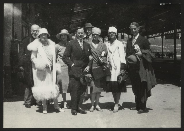 Photograph of (L to R) Pavel Koribut-Kubitovich (cousin of Diaghilev), Mathilda Kshessinka, [?] Trusevich, Juan Miro, Grand Duke Andrei Vladimirovitch, Tamara Karsavina, Alive Nikitina, and Max Ernst