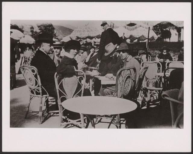 Photograph of L to R: Serge Diaghilev, Bronislava Nijinska,  Igor Stravinsky, Ernest Ansermet, Boris Kochno in Monte Carlo, 1923, no photographer