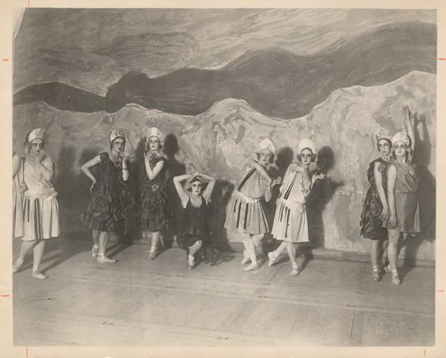 Photograph of Tatiana Chamie, Felia Doubrovska, Tamara Geva, Lubov Tchernicheva, Ninette de Valois, and unidentified others in Zephire et Flora, n.d.