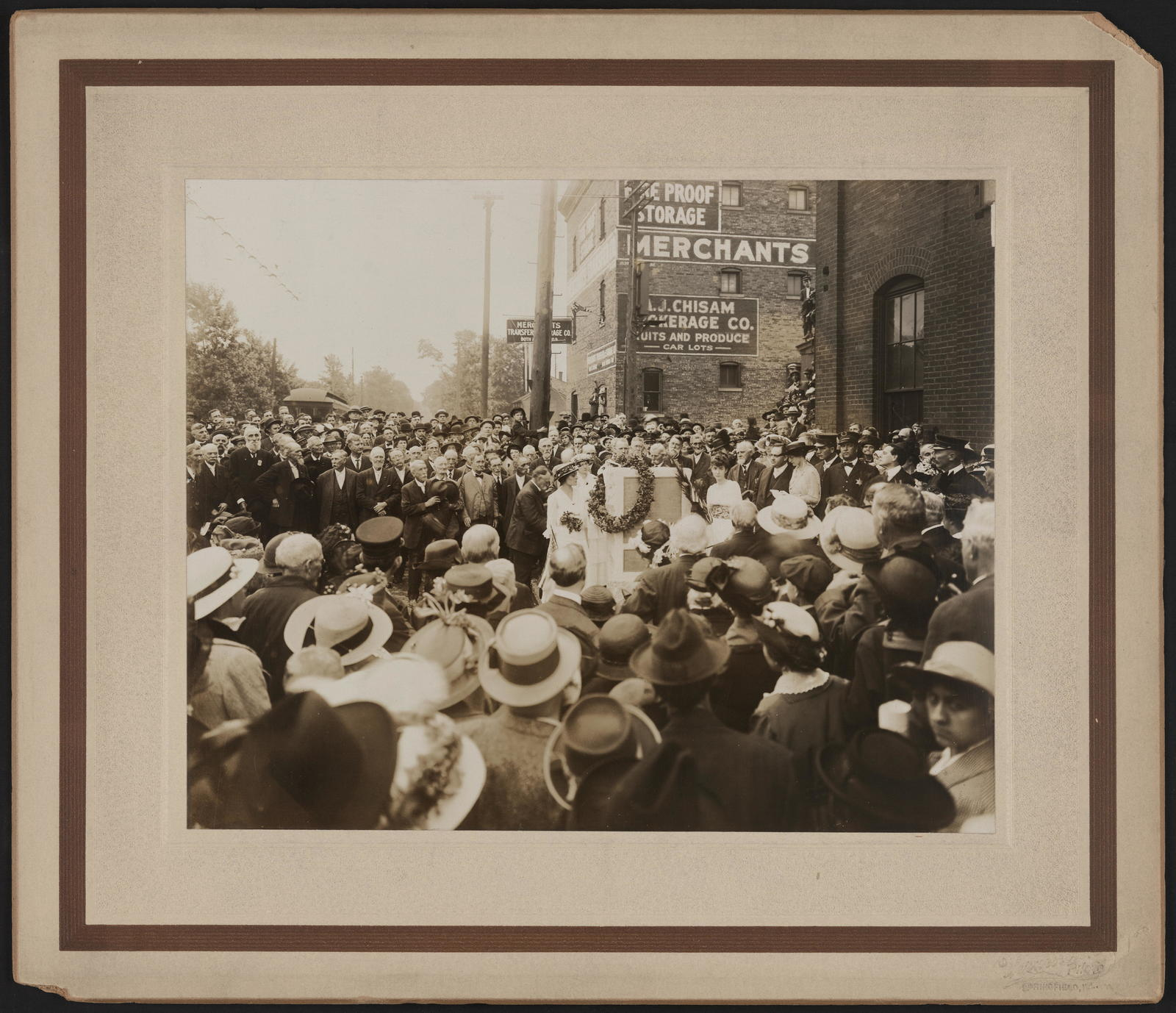 Placing of stone on the spot where Lincoln took his leave from Springfield on the Wabash railroad, February 11, 1861.