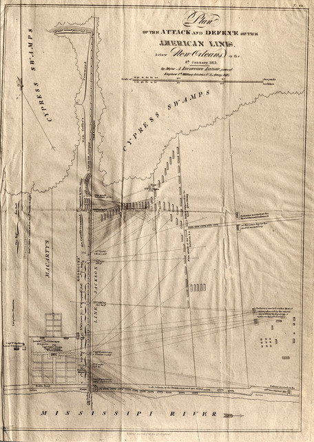 Plan of the attack and defence of the American lines below New Orleans on the 8th January, 1815 / by Major A. Lacarriere Latour, principal engineer 7th military district, U.S. Army, 1815