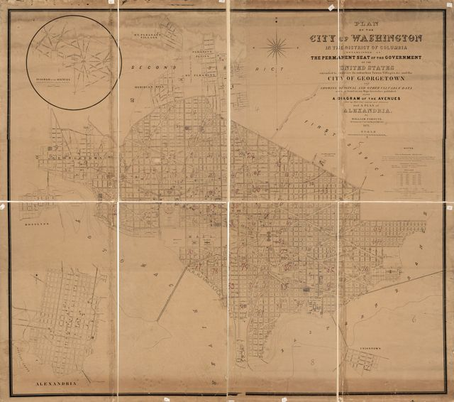 Plan of the city of Washington in the District of Columbia : established as the permanent seat of the government of the United States, extended to embrace its suburban towns, villages, &c. and the city of Georgetown and showing original and other valuable data not to be found on any maps heretofore published : also a diagram of the avenues showing their true courses and distances and a plan of Alexandria /