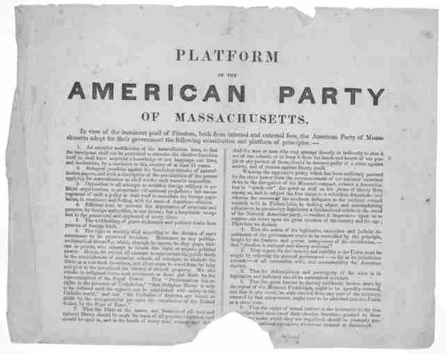 Platform of the American party of Massachusetts. [185-?].