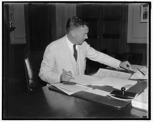 Possible Supreme Court appointee. Washington, D.C., Aug. 6. The latest to be mentioned for the vacant seat on the Supreme Court bench is Robert H. Jackson, Assistant Attorney General. Jackson is a native of Jamestown, NY and a personal friend of President Roosevelt, 8/6/37