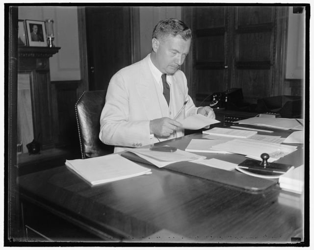 Possible Supreme Court appointee. Washington, D.C. Aug. 6. The latest to be mentioned for the vacant seat on the Supreme Court bench is Robert H. Jackson, Assistant Attorney General. Jackson is a native of Jamestown, NY and a personal friend of President Roosevelt, 8/6/37