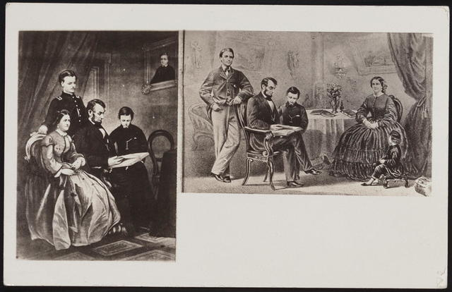 [Postcard with two portraits of Lincoln and family.]