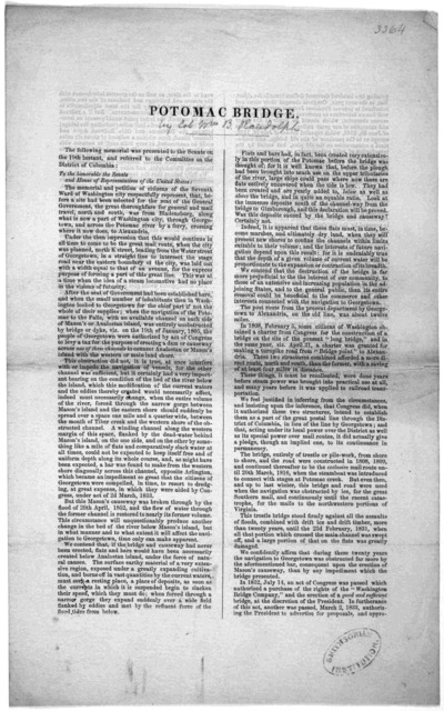 Potomac bridge] by Col. William B. Randolph] The following memorial was presented bo the Senate on the 19th instant, and referred to the Committee on the District of Columbia, [Washington, D. C. n. d.].