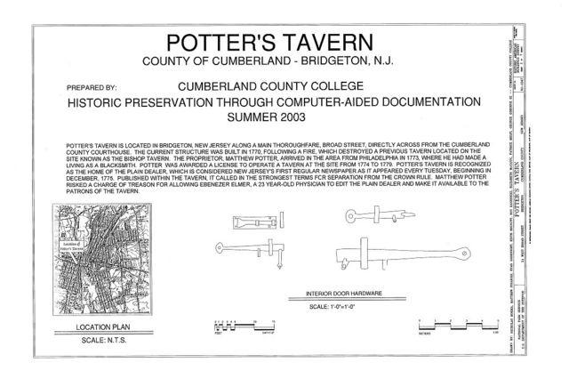 Potter's Tavern, 51 West Broad Street, Bridgeton, Cumberland County, NJ