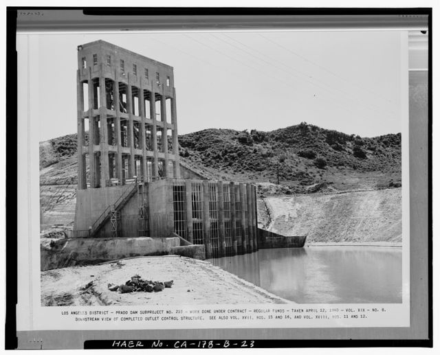 Prado Dam, Outlet Works, Santa Ana River near junction of State Highways 71 & 91, Corona, Riverside County, CA