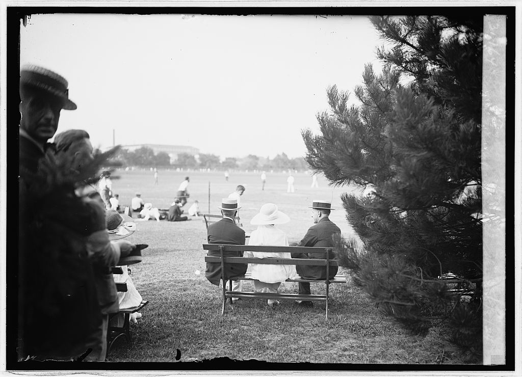 Pres. & Mrs. Coolidge and Sec. Slemp, White House reporters & photographers ball game, 8/8/24