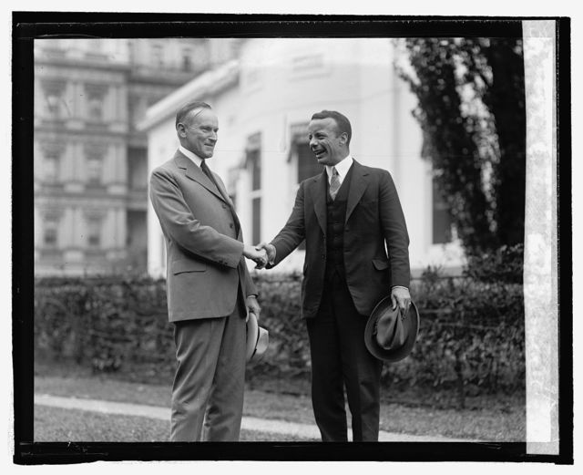 Pres. Coolidge & Theo. Roosevelt who tenders resignation, 9/26/24
