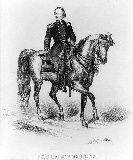 President Jefferson Davis. Arriving in the field of battle at Bulls's Run, [between 1861 and 1865]