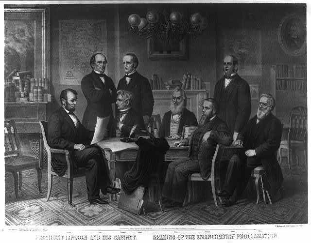 President Lincoln and his cabinet. Reading of the emancipation proclamation