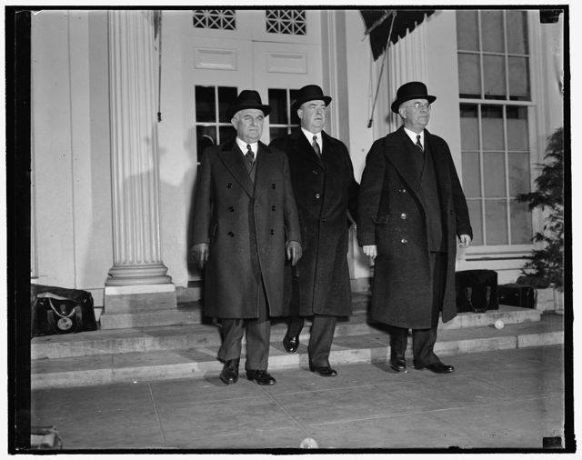 President resumed discussions with utility. Washington, D.C., Dec. 21. President Roosevelt today resumed his discussions with utility company executives on federal power policies. Rate-making and other questions were discussed with Frank R. Philips, (right) President of the Duquesne Light Company of Pittsburgh, and William H. Taylor, President of the Philadelphia Electric Company, center. Senator Joseph Guffey (left) of Pennsylvania, also attended the conference, 12/21/37