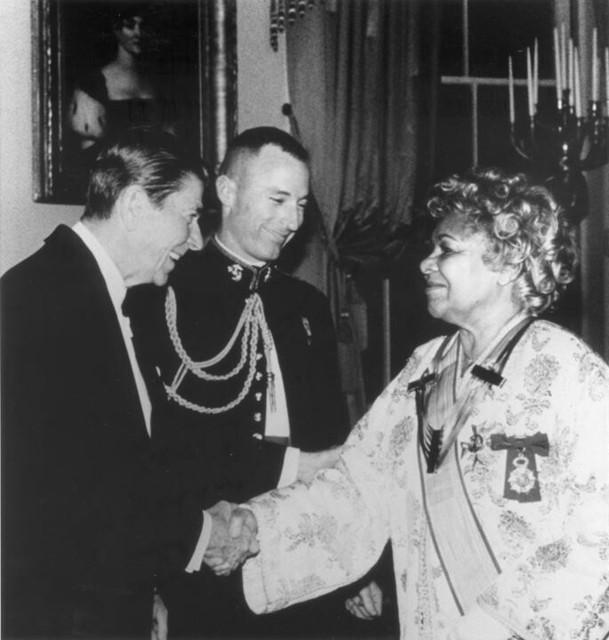 President Ronald Reagan congratulates Katherine Dunham on her 1983 Kennedy Center Honors Award
