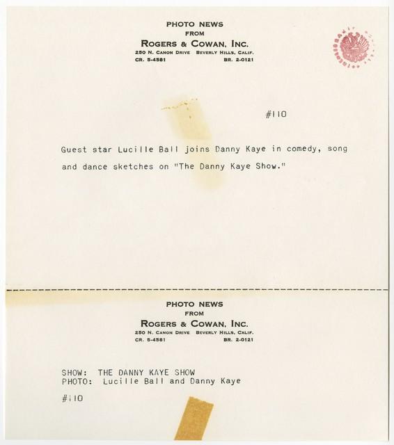 """[ Press kit for """"The Danny Kaye Show"""" November 4, 1964]"""