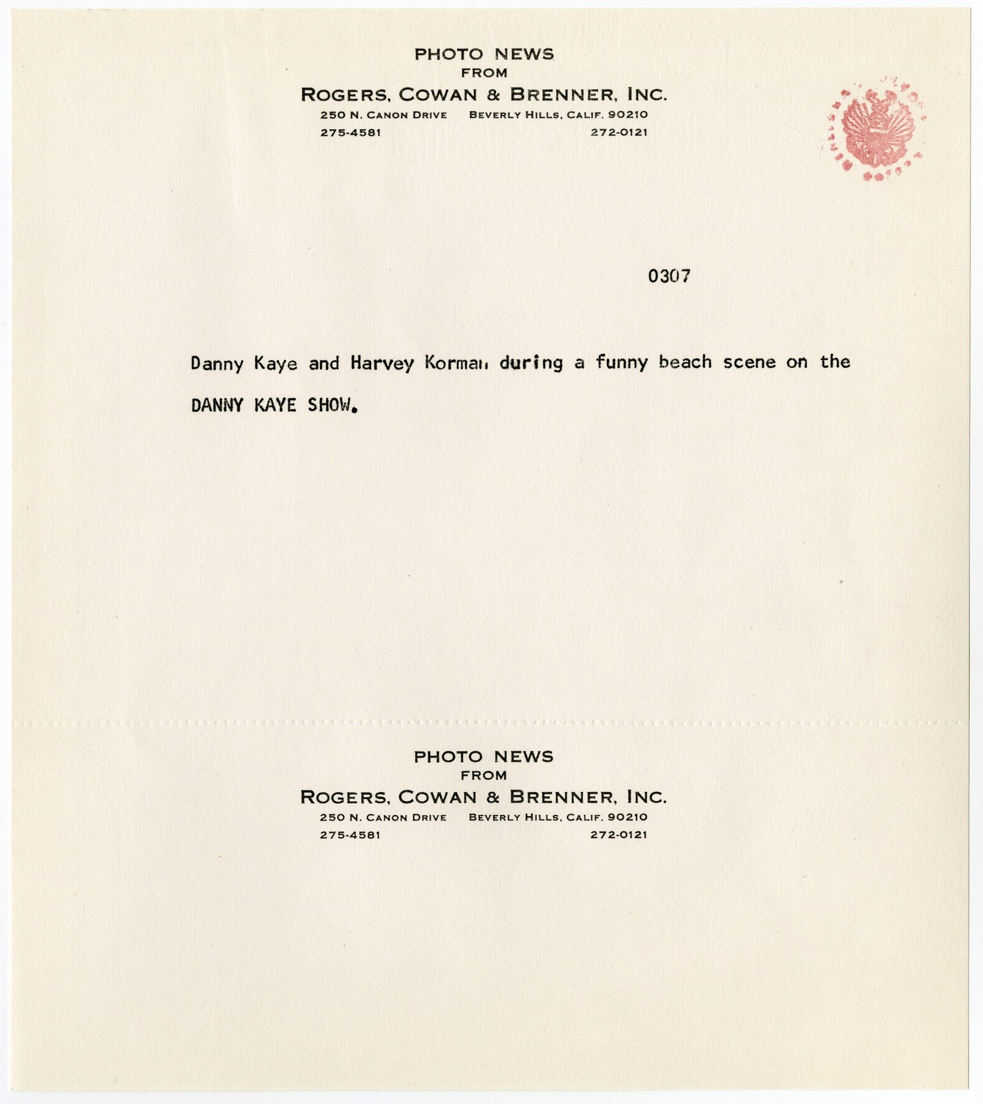 """[ Press kit for """"The Danny Kaye Show"""" October 5, 1966]"""