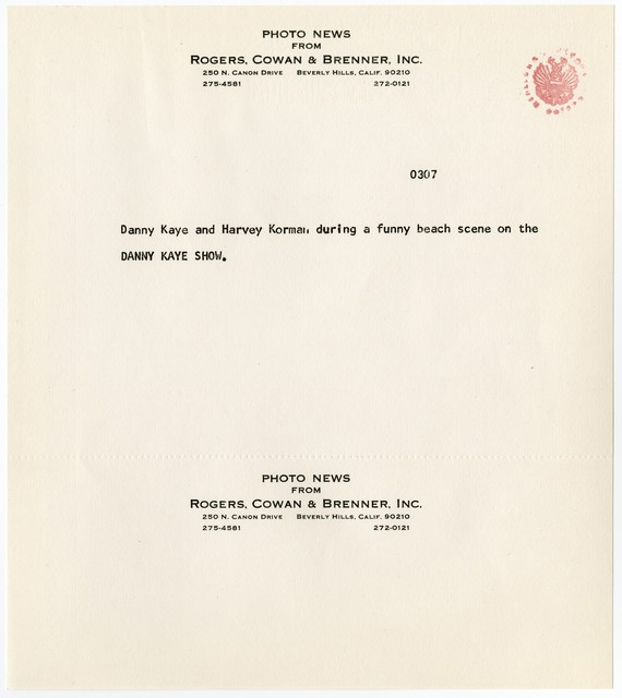 "[ Press kit for ""The Danny Kaye Show"" October 5, 1966]"