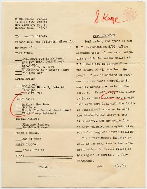 [ Press Release - Buddy Basch Office, 8/24/51]