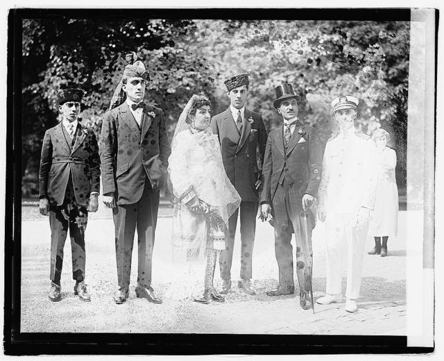 [Princess Fatima of Afghanistan with her three sons, eldest is second from left; with second from right, Prince Zerdechene of Millan, and right, Stanley Clifford Weyman, a dedicated imposter, during a visit to Washington, D.C.], 7/25/21