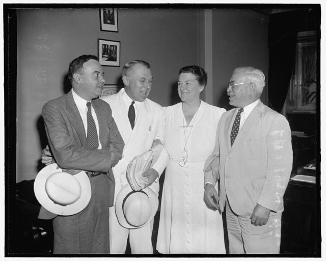 Principals in wage-hour amendments controversy. Washington, D.C., July 25. Seeking speedy action at this session of Congress, the House Rules Committee at a special session today agreed to further attempt to compromise proposals of opposing faction in the proposed amendments to the wage-hour law. Left to right: wage-hour administrator Elmer Andrews; Rep. Graham A. Barden, Democrat of North Carolina; Rep. Mary T. Norton, Democrat of New Jersey and Rep. Adolph Sabath of Illinois, Acting Chairman of the Rules Committee. Andrews, Rep. Norton and Rep. Barden appeared before the Committee in Executive region, 7/26/39
