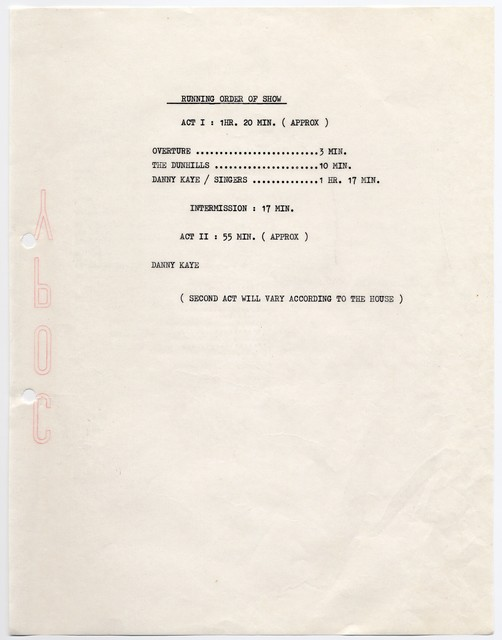 [ Production documents for the Danny Kaye Show at the Phoenix Star Theatre, January 22 - January 28, 1968]