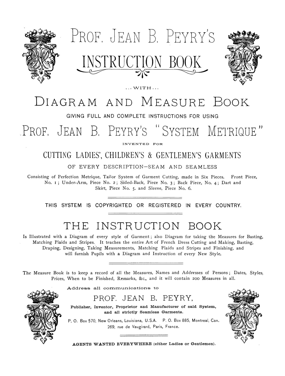 Prof. Jean B. Peyry.s instruction book with diagram and measure book..