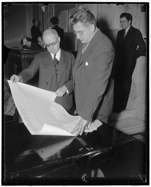 Prof. Paul H. Douglas, right, of Univ. of Chicago, & Prof. Alvin W. Hansen of Harvard U. before Senate Unemployment & Relief Comm. Hearings
