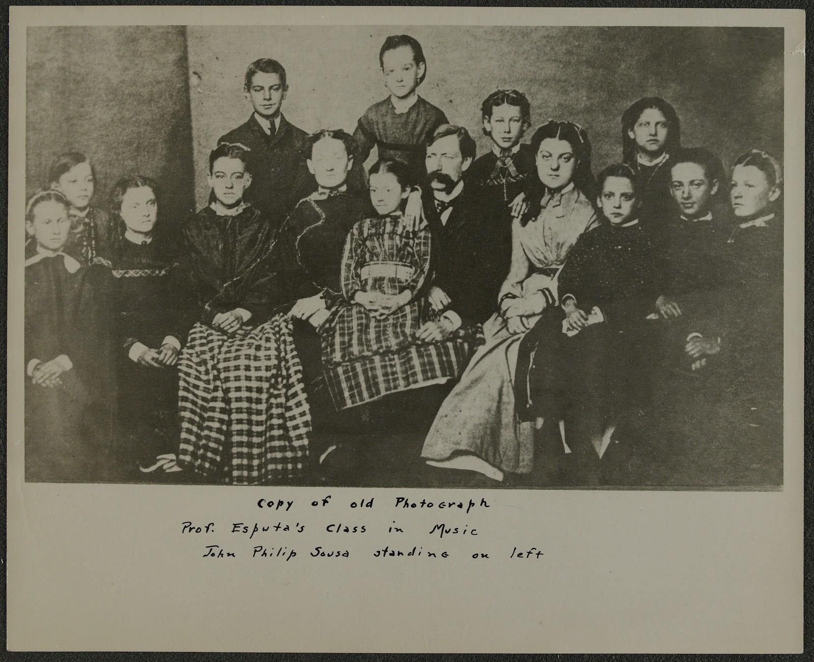 Professor John Esputa's music class, Sousa standing, back row on left