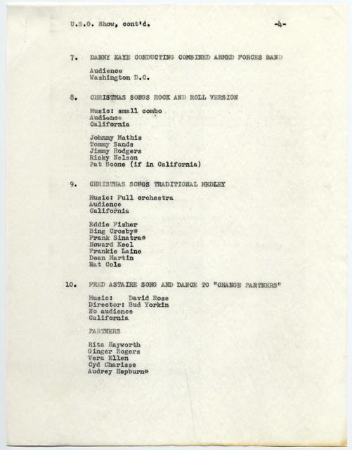Proposed segments of U.S.O. Show [1958 Christmas Spectacular]