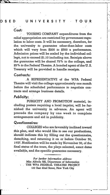 Proposed University Tour - WPA Federal Theatre - Nat'l Collegiate Advisory Committee