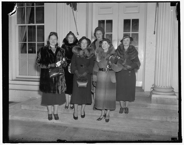 Protest to president on Japanese silk boycott. Washington, D.C., Jan. 28. Following a parade to the White House in protest against the Japanese silk boycott these members of the American Federation of Hosiery Workers presented an Anti-Boycott Memorial to President Roosevelt. Left to right: Lillian [...]earer, Lucille Numbers, Teresa Motz, Clare Schutt, [...]ide Omlor, Ethel Gillies, 1/28/38