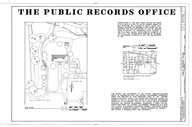 Public Records Office, 428 Duke of Gloucester Street, Williamsburg, Williamsburg, VA