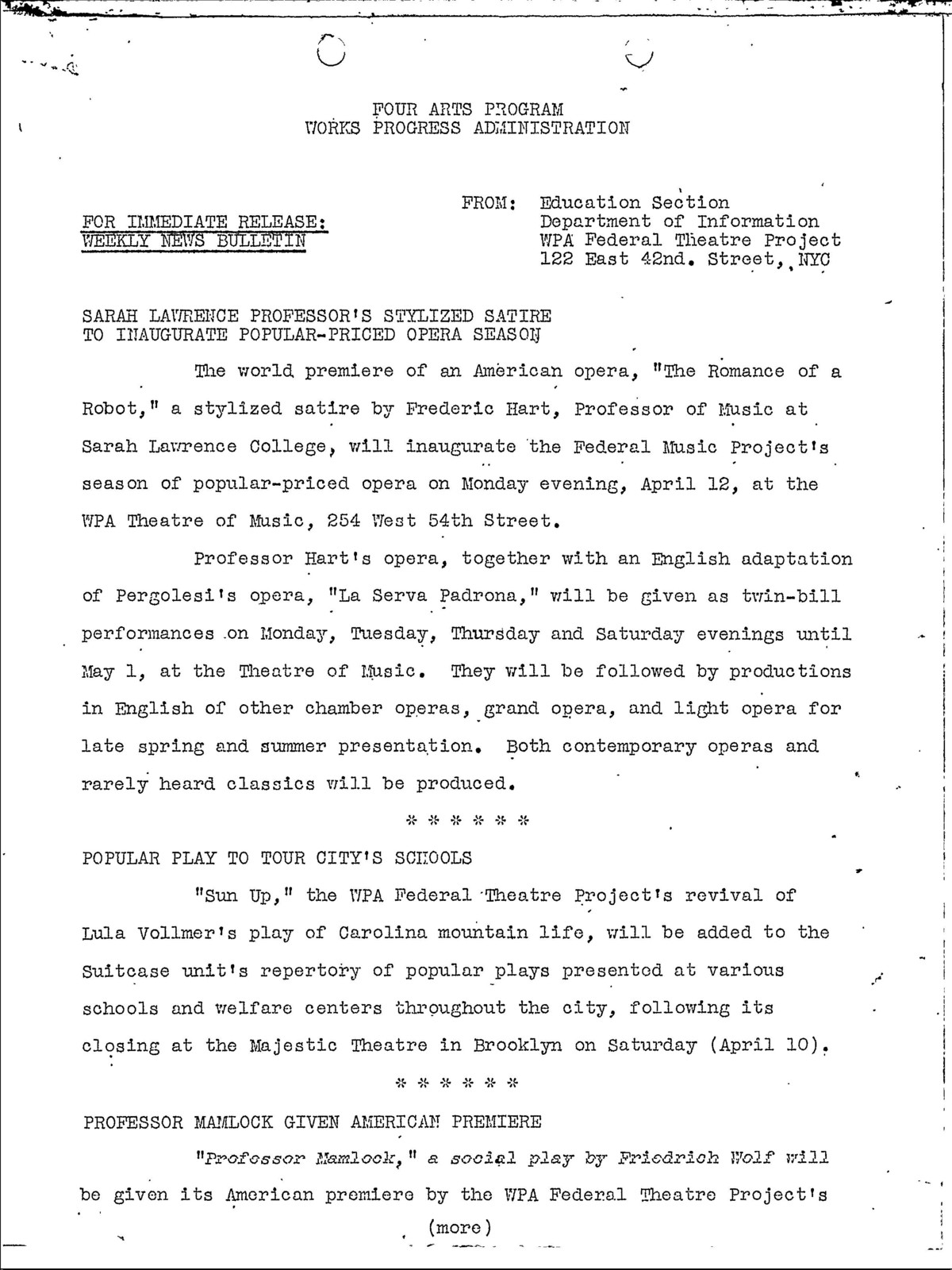 Publicity - 1937 - Press Release - Weekly News Bulletin - NYC