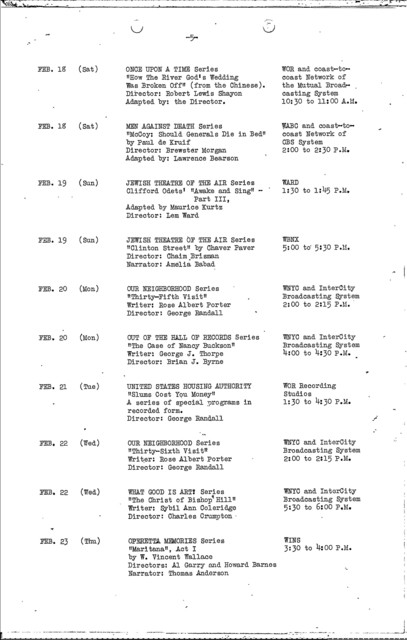 Publicity - 1939 - FTP Radio Division Presentations - NYC Schedules