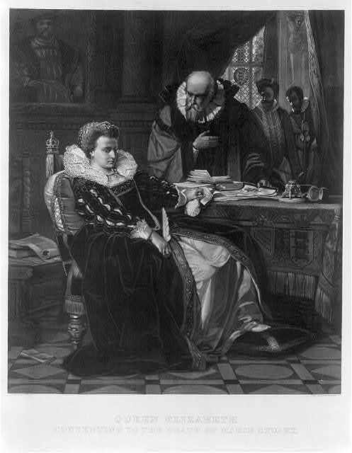 Queen Elizabeth, consenting to the death of Marie Stuart