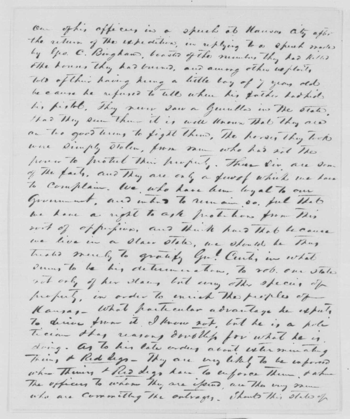 R. C. Vaughan to James O. Broadhead, April 31, 1863  (Affairs in Missouri; endorsed by John F. Ryland)