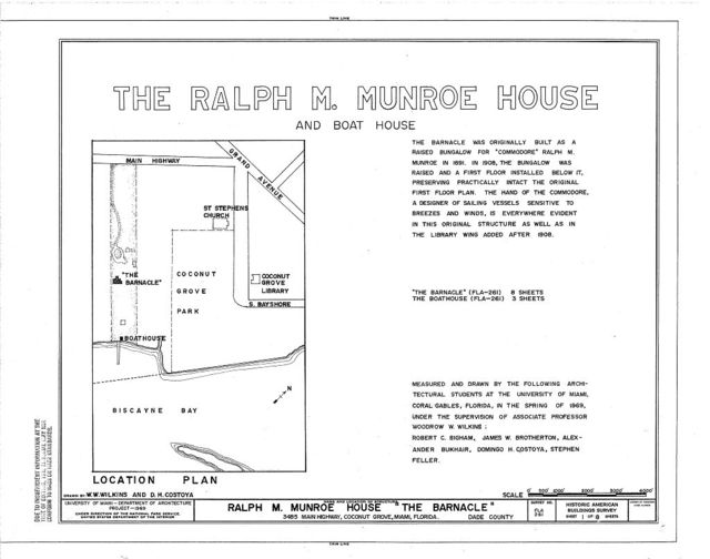 Ralph M. Munroe House, 3485 Main Highway, Coconut Grove, Miami, Miami-Dade County, FL