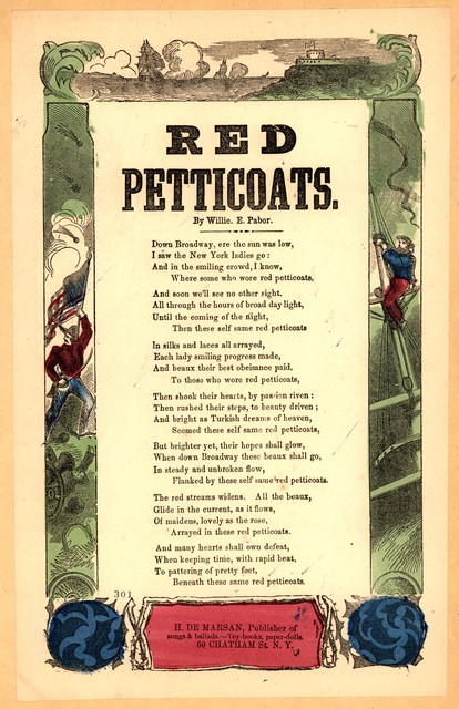 Red petticoats. By Willie E. Pabor. H. De Marsan, Publisher, 60 Chatham Street, N. Y
