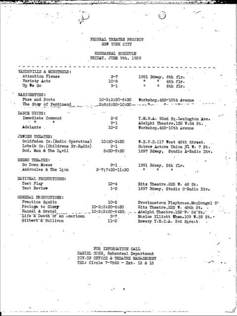 Rehearsal Schedules - Jun/Jul 1939 - NYC