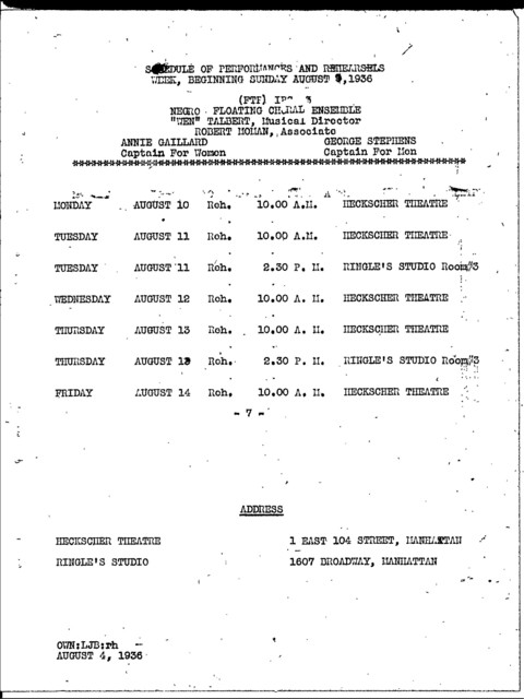 Rehearsals and Performances - Aug 1936 - Schedules - Fed. Music Dept. - NYC