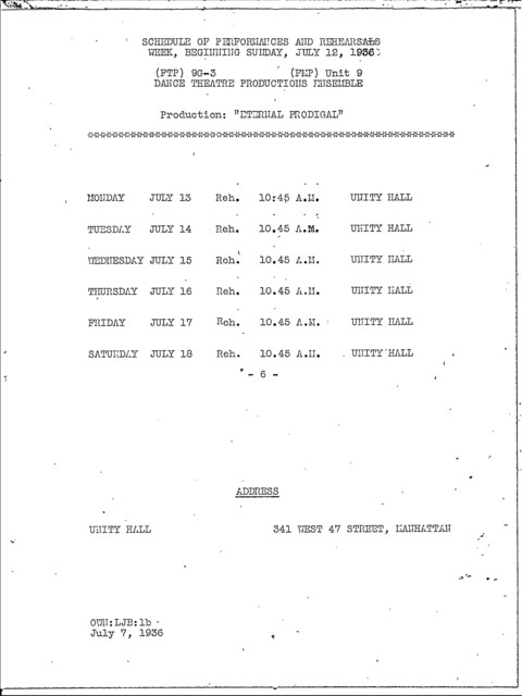 Rehearsals and Performances - Jul 1936 - Schedules - Fed. Music Dept. - NYC
