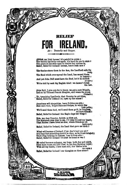 Relief for Ireland. Air: Donnelly and Cooper. H. De Marsan, Publisher, 38 & 60 Chatham Street, N. Y
