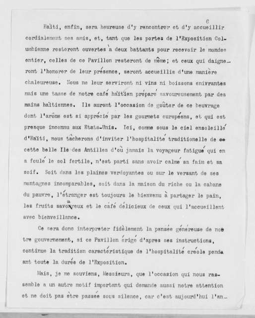 Remarks at Dedication Ceremonies at the Haitian Pavilion, World's Columbian Exposition, Chicago