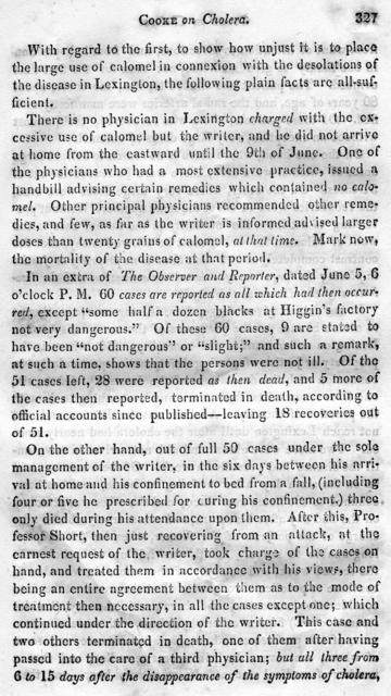 Remarks on Cholera, as it appeared in Lexington in June, 1833